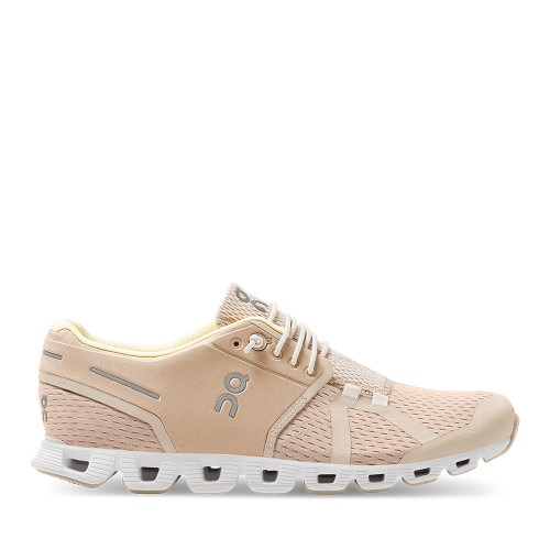 ON Running Cloud Sand Pearl Womens running shoe side view - Hanig's Footwear