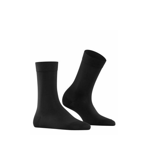 Falke Cotton Touch Socks in black side view - Hanig's Footwear