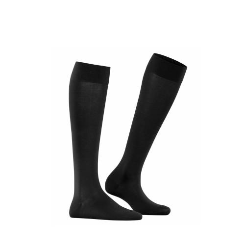 Falke Cotton Touch Women Knee-high Socks in black side view - Hanig's Footwear