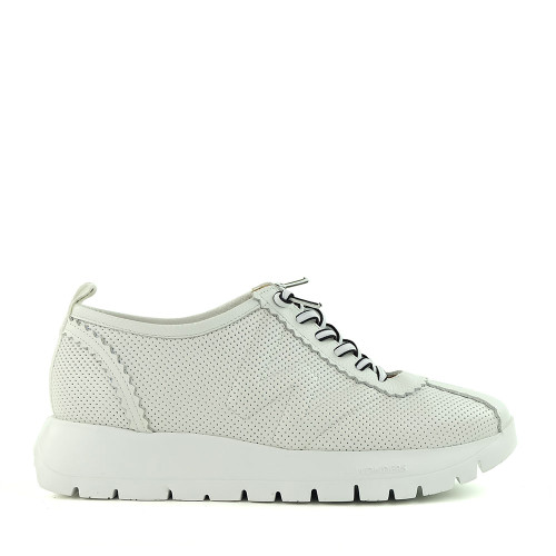 Wonders A-2403 White Leather side view — Hanig's Footwear