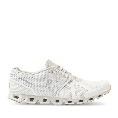 ON Running Cloud White Sand Womens running shoe side view - Hanig's Footwear