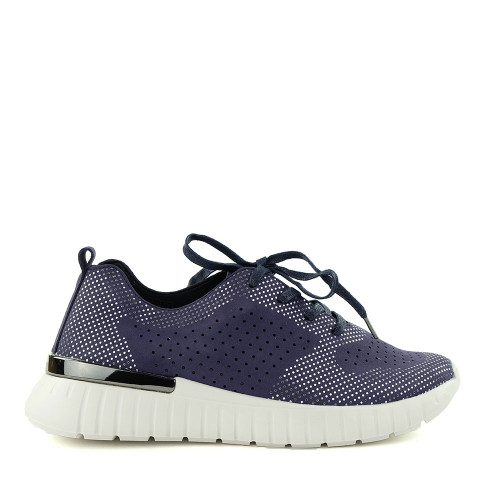Ilse Jacobsen Tulip 4075 Navy side view - Hanig's Footwear