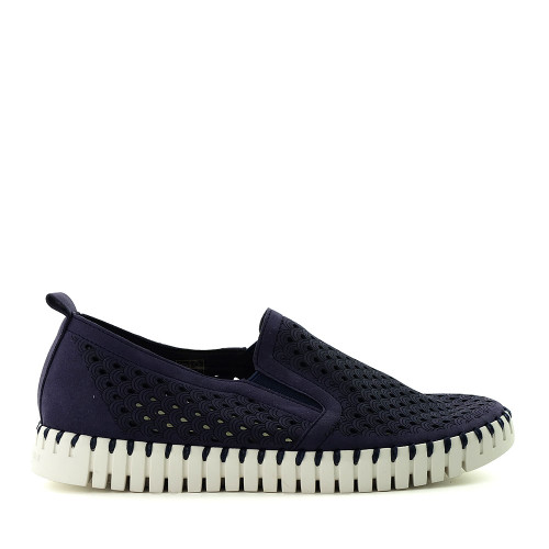 Ilse Jacobsen Tulip 140 Navy side view - Hanig's Footwear