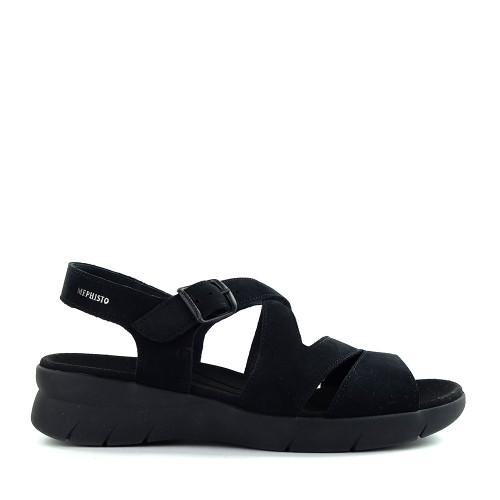 Mephisto Eva Sandal Black side - Hanig's Footwear