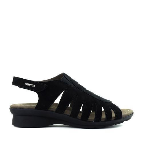 Mephisto Praline Sandal Black side - Hanig's Footwear