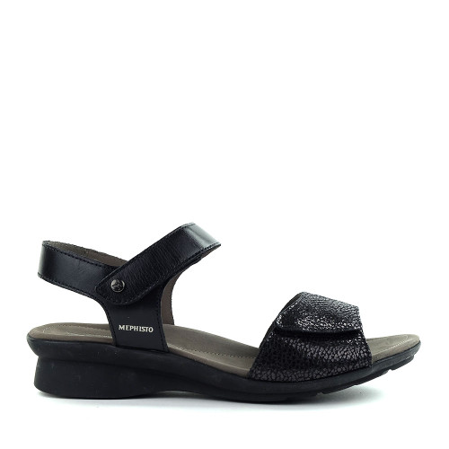 Mephisto Pattie Sandal Black side - Hanig's Footwear