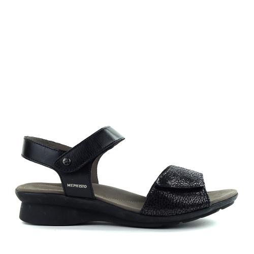 Mephisto Pattie Sandal Black side - Hanig's Footwear