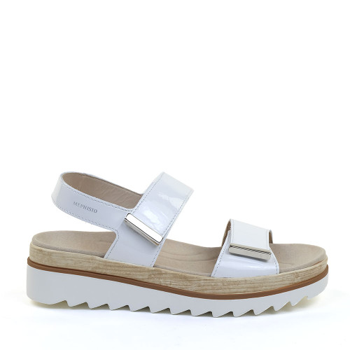 Mephisto Dominica white patent side view - Hanig's Footwear
