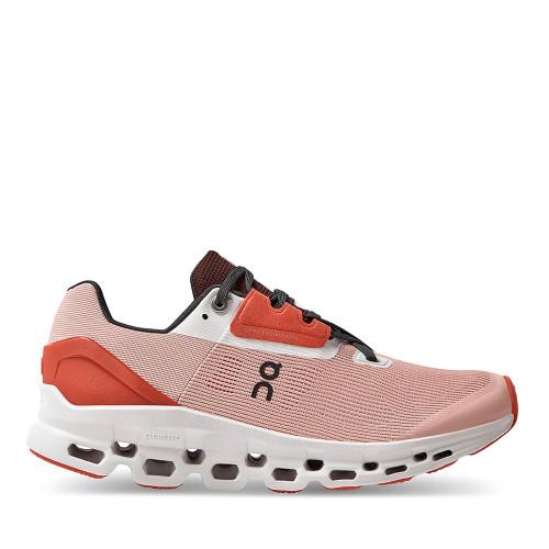 ON Running Cloudstratus Red rose Womens side view - Hanig's Footwear