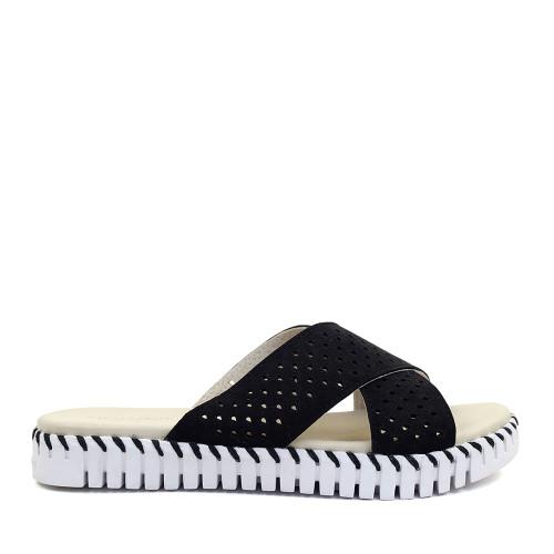 Ilse Jacobsen Tulip Sandal Black side view - Hanig's Footwear