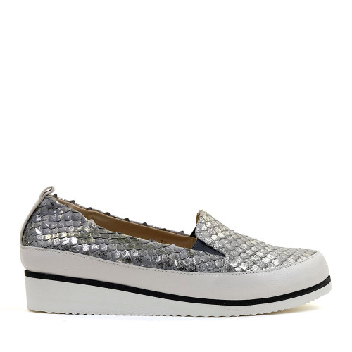 Ron White Nell Pewter side view - Hanig's Footwear