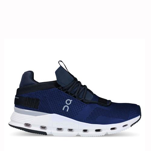 On Running Cloudnova Navy White side view - Hanig's Footwear