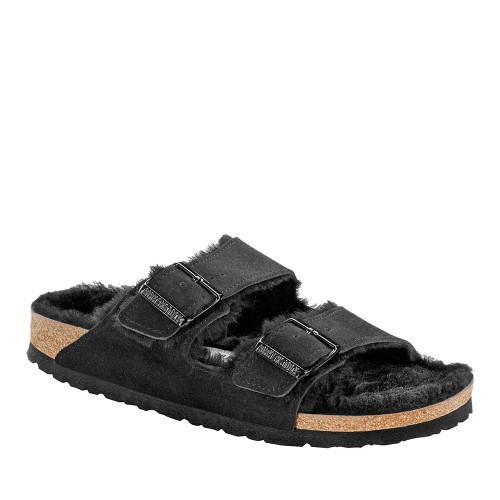 Birkenstock Arizona Shearling Black angle view - Hanig's Footwear