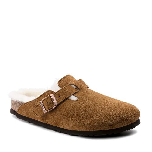 Birkenstock Boston Shearling Mink angle view - Hanig's Footwear