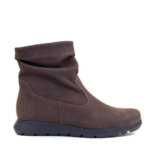 Softies 7205 Dark Brown Nubuck side view - Hanig's Footwear