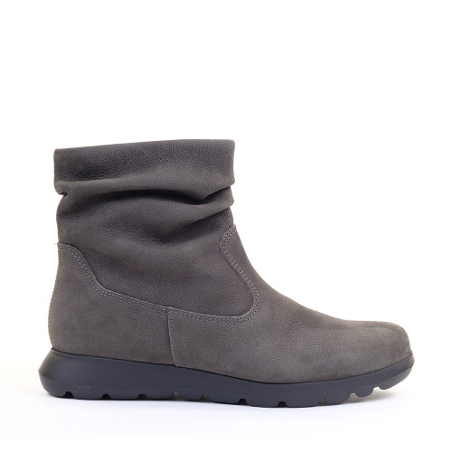 Softies Bootie 7205 Grey Nubuck side view — Hanigs Footwear