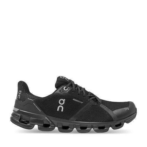 ON Running Cloudflyer Womens Black Lunar WP side view — Hanigs Footwear