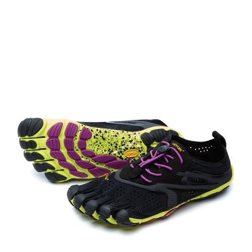 Vibram V-Run Yellow/Black Purple angle view - Hanig's Footwear