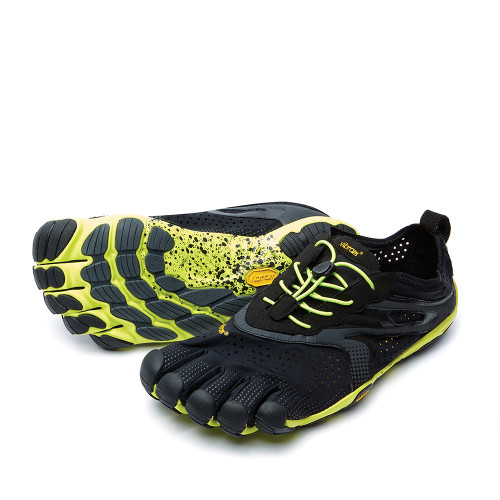 Vibram V-Run Yellow/Black angle view - Hanig's Footwear