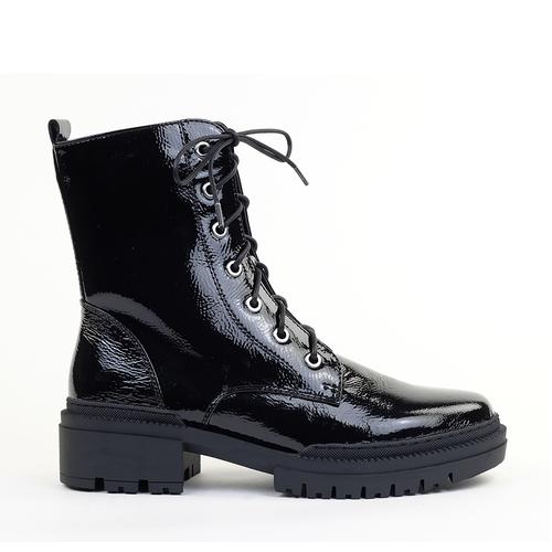 Regarde le Ciel Payton-09 Black Patent side view - Hanig's Footwear