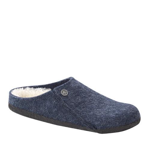 Birkenstock Zermatt Dark Blue Wool angle view - Hanig's Footwear