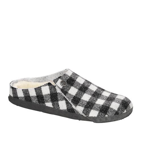Birkenstock Zermatt Black/White Wool angle view - Hanig's Footwear