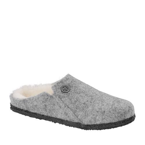 Birkenstock Zermatt Light Gray Wool angle view - Hanig's Footwear
