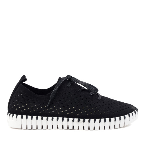 Ilse Jacobsen Tulip Lace Up Black side view — Hanig's Footwear