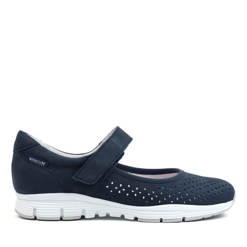 Mephisto Yelina navy side - Hanig's Footwear
