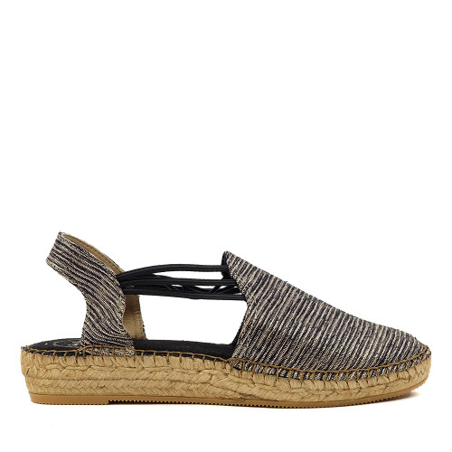 Toni Pons Noa Espadrille Black Shine side view — Hanig's Footwear