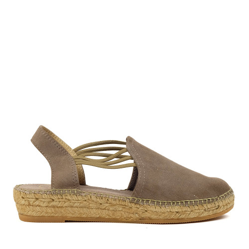 Toni Pons Nuria Espadrille taupe side view — Hanig's Footwear