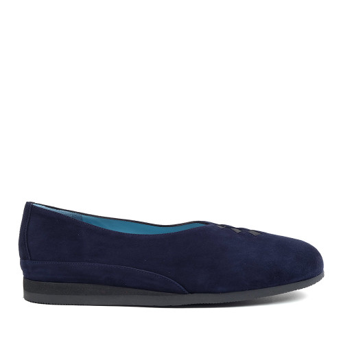 Thierry Rabotin Grace 7410S99 Navy Suede side view — Hanig's Footwear