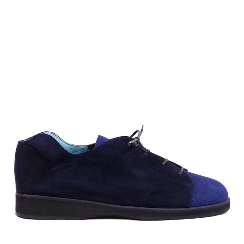 Thierry Rabotin Tulip 2292Q Blue Suede Combo side view — Hanig's Footwear