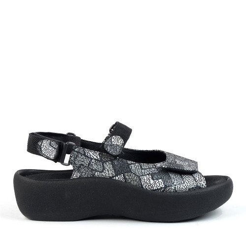 Wolky Jewel Gray Picasso Crash side view - Hanig's Footwear