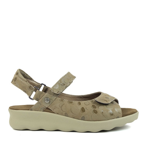 Wolky Pichu Beige Circles side view - Hanig's Footwear