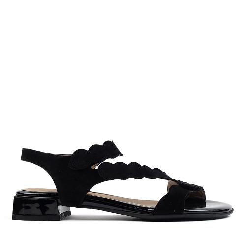 Beautifeel Musa Black Suede sandal side view - hanig's footwear