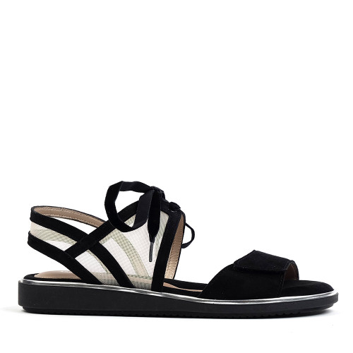 Beautifeel Peppa Black Suede sandal side view - hanig's footwear