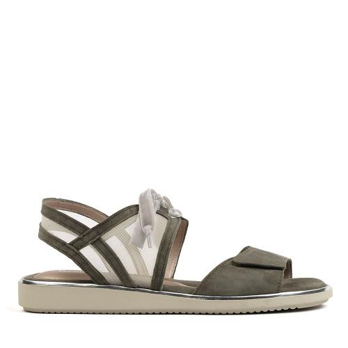 Beautifeel Peppa olive suede sandal side view - hanig's footwear