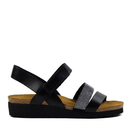 Naot Krista sandals in black side view at Hanig's Footwear