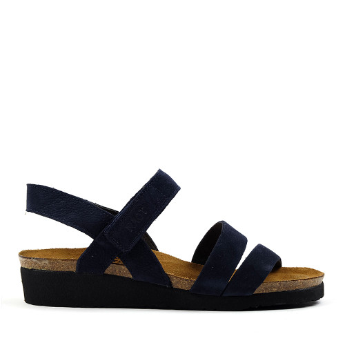 Naot Kayla Navy Velvet side view - Hanig's Footwear