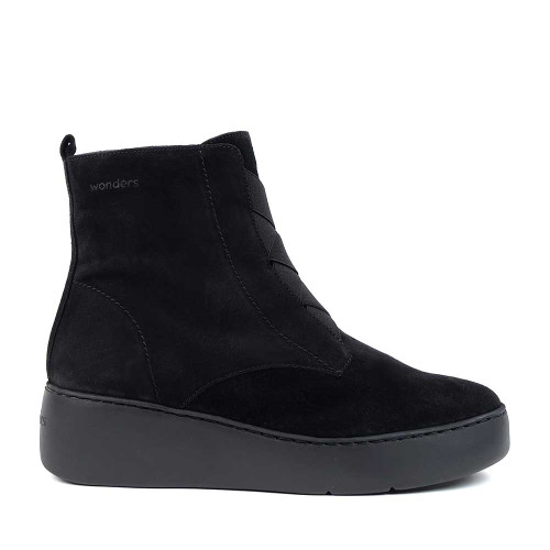 Wonders A-8332 Black Suede side view - Hanigs Footwear