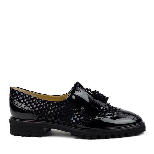 Brunate 11076 Jazz Petrol Patent side view - Hanig's Footwear