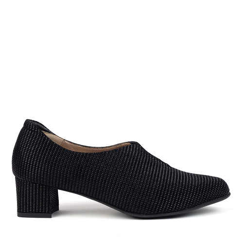 Beautifeel Runa Black Linear side view -Hanig's Footwear