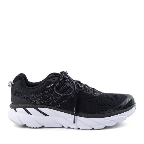 Hoka One One Clifton 6 Black/White Womens side view - Hanig's Footwear