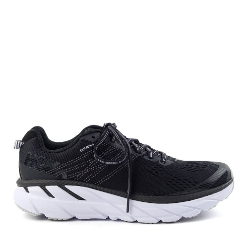 Hoka One One Clifton 6 Black/White Womens side view - Hanig's Footwear
