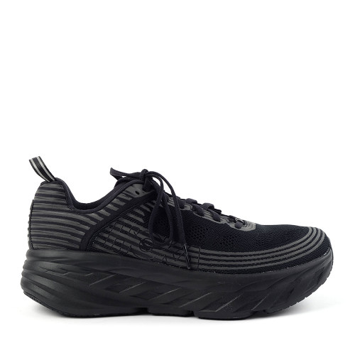 Hoka One One Bondi 6 Black/Black Mens side view - Hanig's Footwear