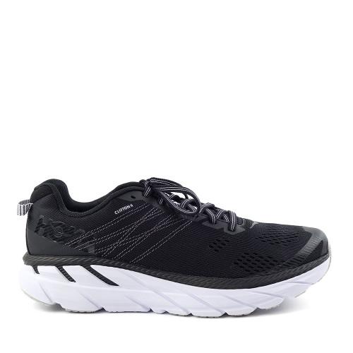 Hoka One One Clifton 6 Black/White Mens side view - Hanig's Footwear