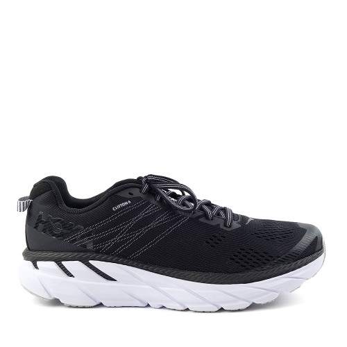 Hoka One One Clifton 6 Black/White Mens side view - Hanig's Footwear