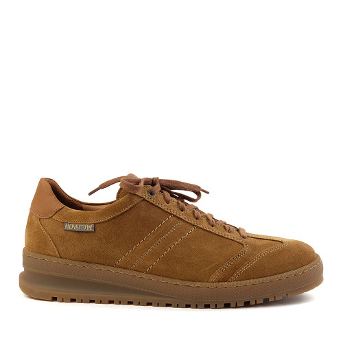 Mephisto Shoes Jumper Sneaker in Tobacco suede side view - Hanig's Footwear