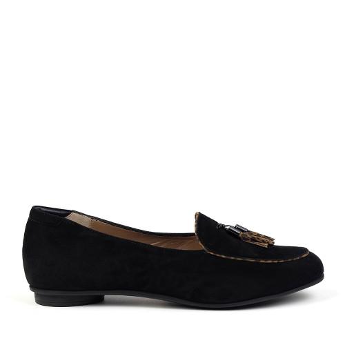 BeautiFeel Chloe Black Flat side view - Hanig's Footwear